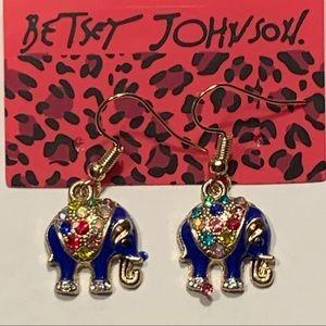 Betsey Johnson Style - Crystal Elephant Earrings